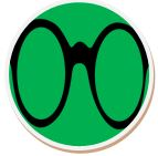 Glasses with green background