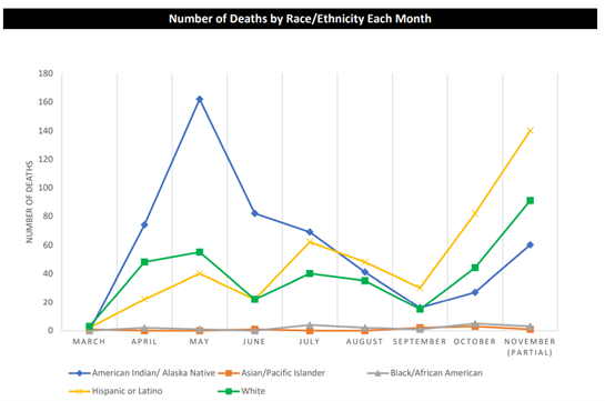 Number of Deaths by Race/Ethnicity Each Month